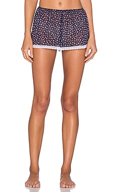Only Hearts Midnight Daisy Sleep Short in Floral Velvet Burnout