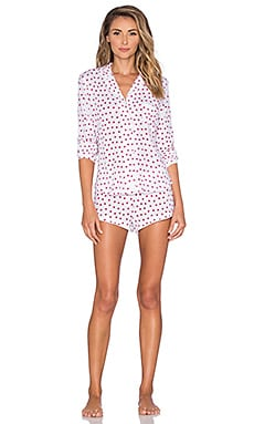 Only Hearts Heritage Heart Print Shorty PJ Set in White & Red