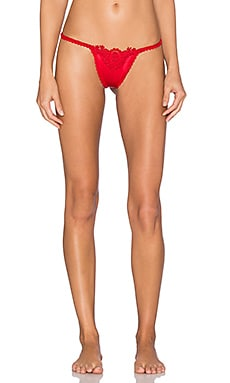 Only Hearts Cameo Silk Charmeuse Thong in Rouge