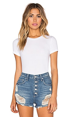 Feather Weight Rib T-Shirt Bodysuit in White
