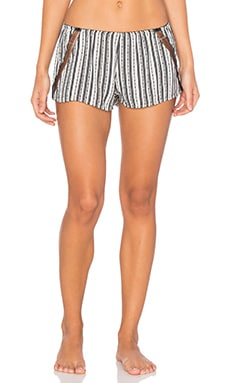 Only Hearts Railroad Stripe Sleep Short in Black