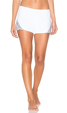 So Fine with Lace Sleep Short in White & Silver Blue