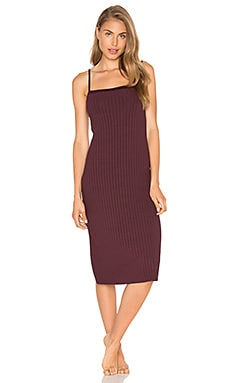 Wide Wale Rib Midi Slip Dress in Wine