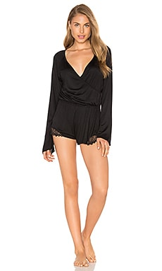 Venice Long Sleeve Playsuit in Black