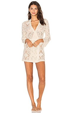 Mosaic Lace Short Robe in Vintage