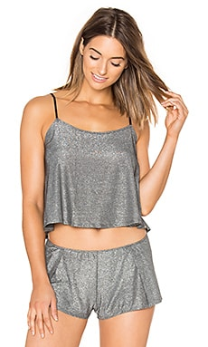 Metallic Jersey Flare Cami in Gunmetal