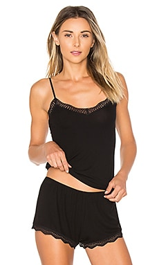 Feather Weight Rib Lace Trim Cami in Black