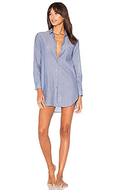Recycled Stripe Boyfriend Shirt in Denim