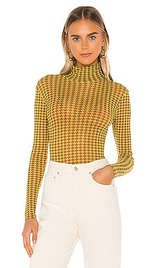 Houndstooth Tulle Turtleneck Bodysuit Only Hearts $88