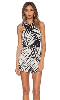 OSKLEN California Leaves Romper in Off White & Black