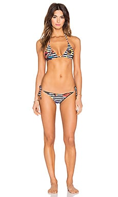 OSKLEN Flower Stripe Bikini Set in Yellow & Blue & Red & Black