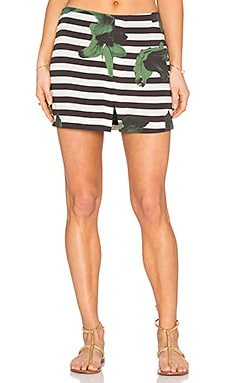 OSKLEN Flower Stripe Skirt in Green & Black & White