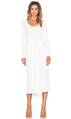 Otis & Maclain Parker Long Sleeve Dress in White Ribbed