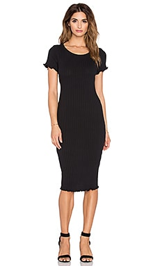 Otis & Maclain Mosshart Midi Dress in Black Ribbed