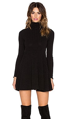 Otis & Maclain Alexander Turtleneck Dress in Black Ribbed
