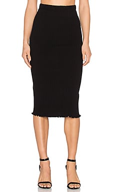 Otis & Maclain Mid Calf Skirt in Black Ribbed