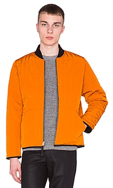 Our Legacy Reversible Bomber in Orange Nylon Black Teddy