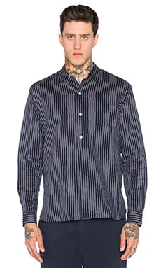 Our Legacy Fine Overshirt in Blue Silk Stripe