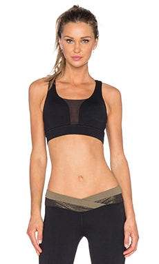 OUT Executive Mesh Sports Bra in Provocative Black