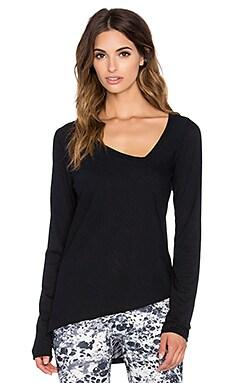 OUT Debutante Asymmetric Long Sleeve Tee in Black & Black Mesh