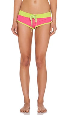 Pacific & Driftwood Booty Boardshort Bikini Bottom in Pink & Lime