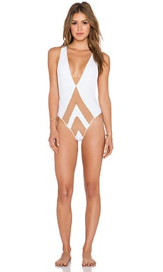 Pacific & Driftwood The Avry Swimsuit in White & Nude
