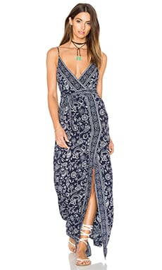 Regina Maxi Dress in Evening Blue & White