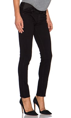 Paige Denim Skyline Maternity Ankle Peg Skinny in Black Shadow