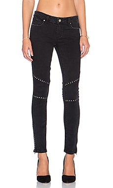 Paige Denim Shiloh Ankle Zip Skinny in Studded Vintage Black