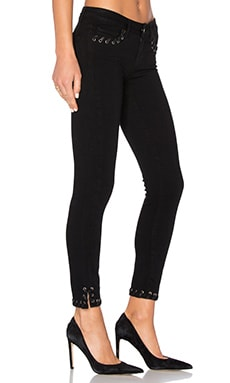 Verdugo Ankle Skinny in Black Shadow Lace Grommet