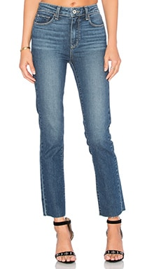 Paige Denim Jacqueline Unfinished Hem Straight Leg in Axel