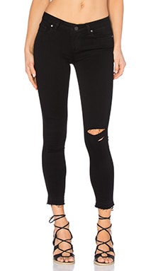 Paige Denim Verdugo Crop w/ Undone Hem in Jett Black Destructed