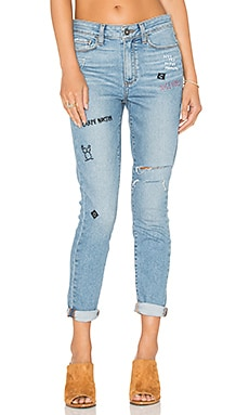 Paige Denim Hoxton Ankle in Caprice Embroidered Destructed