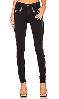 Paige Denim Amberly Ultra Skinny in Noir Boleyn Embroidered