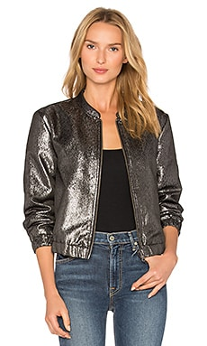 Rosie HW x PAIGE Kimi Bomber Jacket in Gray Metallic