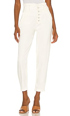 Pleated Carrot Leg Exposed Buttonfly Jean PAIGE $239