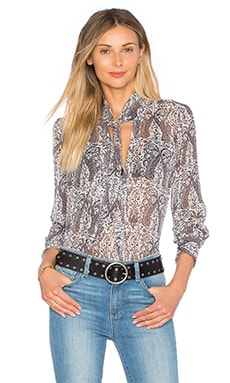 Paige Denim Camree Blouse in White, Rabbit & Rose