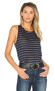 Analia Tank in Dark Ink Blue & White