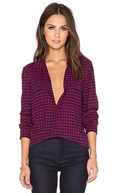 Paige Denim Trudy Shirt in Cerise & Dark Ink Blue