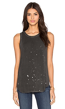 Paige Denim Georgina Tank in Vintage Black & Gunmetal Foil
