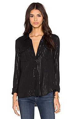 Paige Denim Mya Shirt in Black & Silver