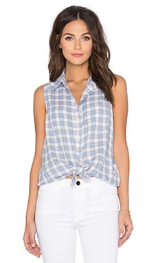 Paige Denim Adora Button Up in Cornflower & Grey