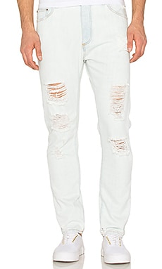 Palm Angels Ripped Lt Wash Denim Regular Fit in Bleach