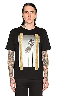 Palm Angels B/W Palms Tee in Black Multicolor