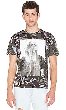 Palm Angels Iconic Angel Allover Banana Leaves Tee in Allover