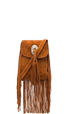 Coyote Suede Crossbody Bag in Tan