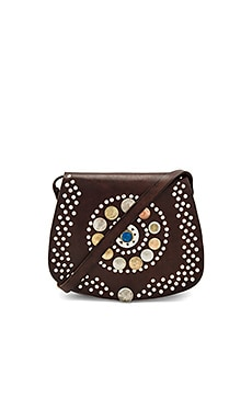 Barranco Bag With Blue Stone in Dark Brown