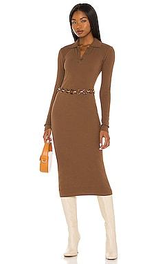 Long Sleeve Midi Shirt Dress Pam & Gela $145