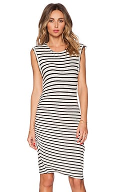 Pam & Gela Linen Muscle Dress in White & Black Stripe