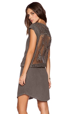 Pam & Gela Crochet Back Dress in Faded Charcoal